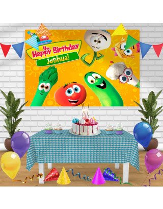 veggietales Birthday Banner Personalized Party Backdrop Decoration