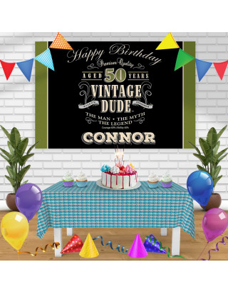 VINTAGEDUDE Birthday Banner Personalized Party Backdrop Decoration