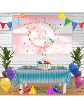 Welcome to the world Birthday Banner Personalized Party Backdrop Decoration