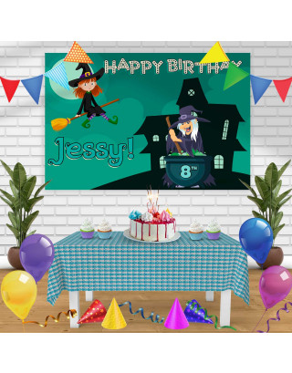 WITCH Birthday Banner Personalized Party Backdrop Decoration