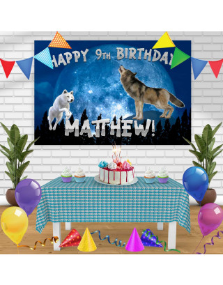 Wolf Birthday Banner Personalized Party Backdrop Decoration