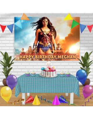 WONDER WAOMEN Birthday Banner Personalized Party Backdrop Decoration