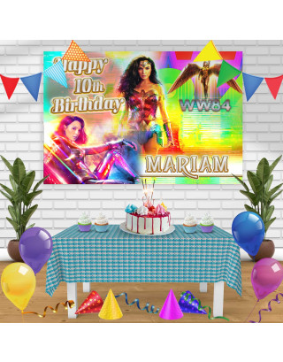 Wonder Woman 1984 Birthday Banner Personalized Party Backdrop Decoration