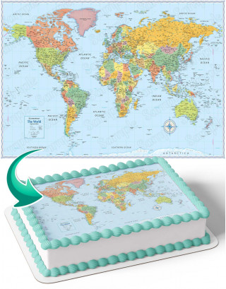 World Map Glove Earth WM Edible Image Cake Topper Personalized Birthday Sheet Decoration Custom Party Frosting Transfer Fondant