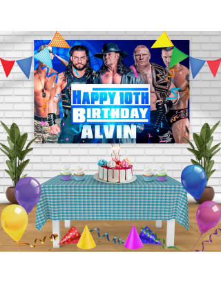 WWE SmackDown Birthday Banner Personalized Party Backdrop Decoration