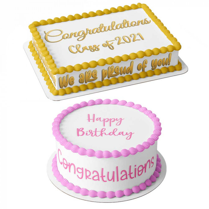 YOUR OWN PERSONALISED PHOTO MESSAGE EDIBLE ROUND CAKE TOPPER FOR 8 INCH CAKES