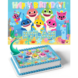 Baby Shark Edible Image Cake Topper Personalized Birthday Sheet Decoration Custom Party Frosting Transfer Fondant
