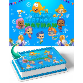 Bubble Guppies BG Edible Image Cake Topper Personalized Birthday Sheet Decoration Custom Party Frosting Transfer Fondant