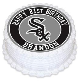 Chicago White Sox Baseball Edible Image Cake Topper Personalized Birthday Sheet Decoration Custom Party Frosting Transfer Fondant Round Circle