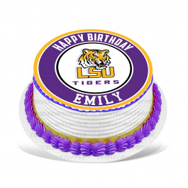 LSU Tigers Edible Image Cake Topper Personalized Birthday Sheet Decoration Custom Party Frosting Transfer Fondant Round Circle