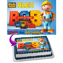 """Bob the Builder   6.5/"""" round  and 10 Smaller 1.5/""""   Edible Icing Cake Topper"""