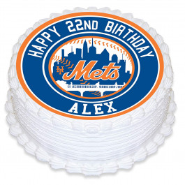 New York Mets Baseball Edible Image Cake Topper Personalized Birthday Sheet Decoration Custom Party Frosting Transfer Fondant Round Circle