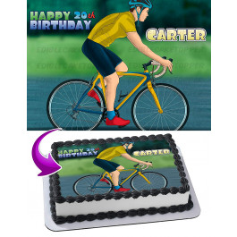 Road Bicycle Bike Edible Image Cake Topper Personalized Birthday Sheet Decoration Custom Party Frosting Transfer Fondant