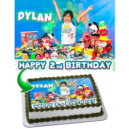 Ryan ToysReview Edible Image Cake Topper Personalized Birthday Sheet Decoration Custom Party Frosting Transfer Fondant