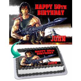 Rambo Edible Image Cake Topper Personalized Birthday Sheet Decoration Custom Party Frosting Transfer Fondant