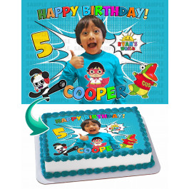 Ryan's World Edible Image Cake Topper Personalized Birthday Sheet Decoration Custom Party Frosting Transfer Fondant